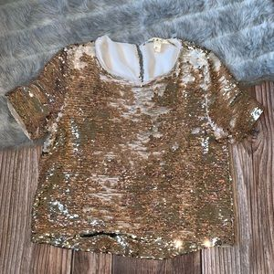 Chelsea & Violet gold sequin top